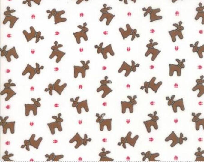 Sugar Plum Christmas- Reindeer Paws in White- Moda