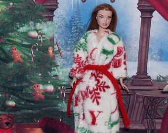 Christmas Greetings Robe -  Fashion Doll Christmas Clothes. Holiday Joy  Robe.