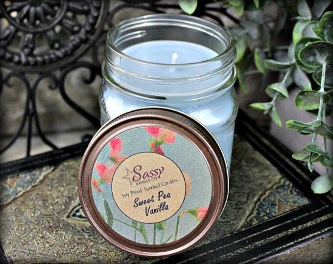 SWEET PEA VANILLA | Mason Jar Candle | Sassy Kandle Co.