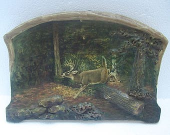 Vintage Original Mixed Media 3D PAINTING of DEER in FOREST on Wood