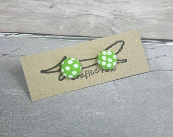 Polka dot green earrings, button, sterling silver, fabric,   studs, round, green, funky