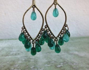 Boho earrings,Chandelier Earrings, Teal Earrings, Teardrop earrings, Gypsy earrings