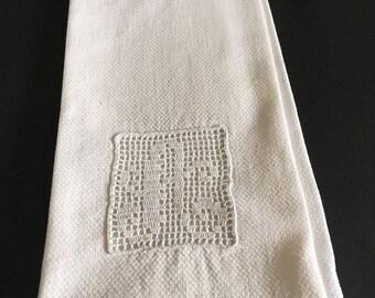 Antique Linen Guest Towel with Filet Lace Inset Monogram Letter A
