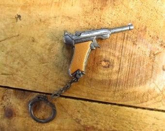Vintage Cap Gun Key Chain - Hong Kong Novelty Cap Gun Key Chain - Luger Key Chain
