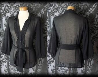 Goth Black Sheer Frilled ENVY'S EMBRACE Sash Tie Blouse 10 12 Victorian Vintage