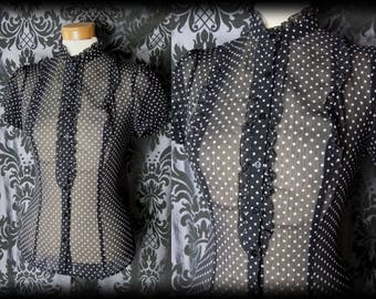 Gothic Black Sheer Polka Dot WOEFUL High Neck Blouse 10 12 Victorian Vintage