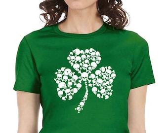 skull shamrock irish st patrick's day women's shirt