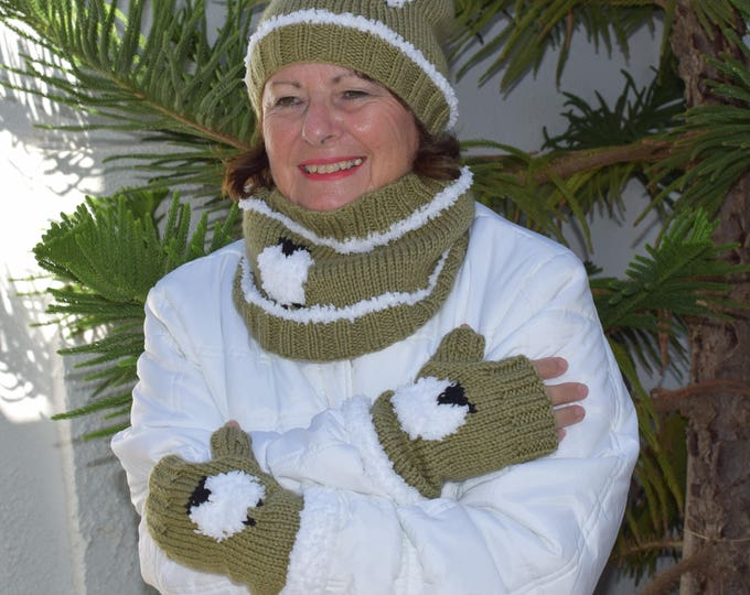 Flock of Sheep Hat, Fingerless Gloves and two Cowls Knitting Pattern, Digital Pdf Download