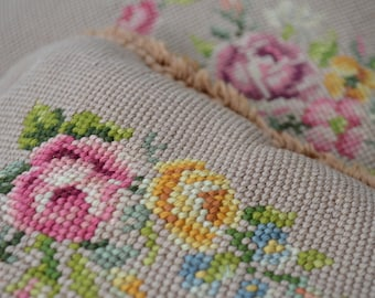 Vintage Rose Needlepoint Antique Pillows Pink Yellow Beige