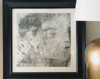 Framed Black and White Letterpress Print / Sketch of a man