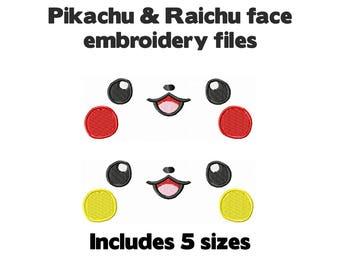 Machine embroidery design file - Pikachu Raichu Pokemon faces - 5 sizes cute for plush stuffed animal plushie soft toy craft