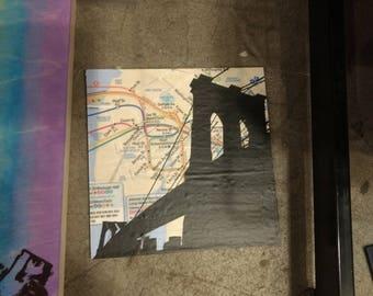 Mixed Media Brooklyn Bridge / NYC map / 6 x 6 / bridges / NYC