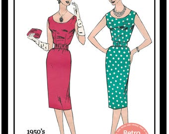 1950s Wiggle/Sheath Dress Sewing Pattern - Rockabilly - Pin Up -  Paper Pattern