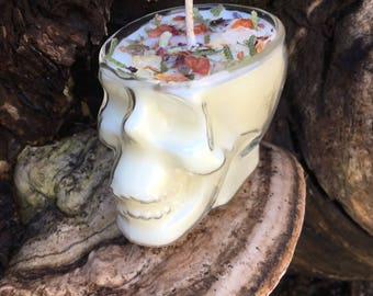 COMING SOON        Smudge Candle, Soy Wax, Unique Candle, Herb Candle, Essential Oils, Halloween, Skull