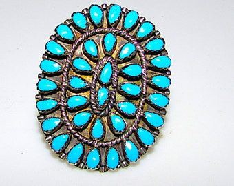 Old Pawn Navajo Sterling Silver Turquoise Cluster Statement Ring Size 9.5