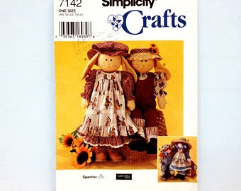 """Simplicity 7142 Rag Doll or Bunny with Clothes 24"""" Shirt Hat Dress Pinafore Pantaloons Jumpsuit Cut Craft Pattern Elaine Heigl Designs 1996"""