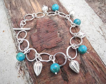 sterling silver seed and turquoise charm bracelet, handmade silver link chain, Silver & bead bracelet, summer charm bracelet, silver seed
