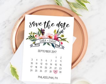 Floral Calendar Save the Dates (5x7 Customizable Invitations)