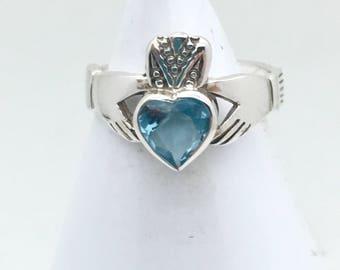 Blue Topaz Sterling Silver Claddaugh Ring