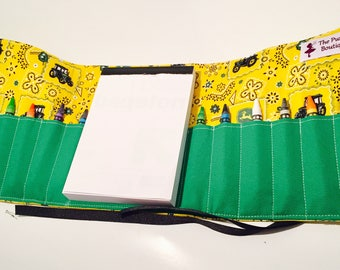 Tractor themed Crayon roll with Art pad