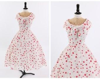 Vintage original 1950s 50s Peggy Page novelty flocked cherry print dress UK 6 8 US 2 4 XS S