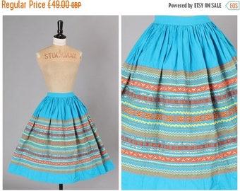 ON SALE Vintage original 1950s 50s novelty ric rac trim full cotton skirt Sqwaw patio Western UK 8 Us 4
