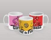 Giro D'Italia, Tour De France and Vuelta a España Mug bicycle bike race Grand Depart cycling Grand Tour. Pink Coffee Cup.