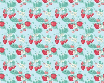 Blue Shabby Strawberry Fabric by Emily Hayes.  Penny Rose Fabric