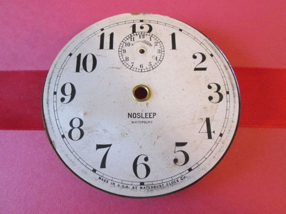 "Waterbury NOSLEEP 4 1/8"" Vintage Paper & Steel Alarm Clock Dial for your Clock Projects - Steampunk Art"