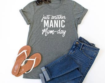 Just Another Manic Mom-Day Crew Neck Tshirt - Womens Clothing. Womens Tshirt. Graphic Tee - Tickled Teal