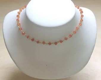 Orange Carnellian/Gold Gemstone Choker, Carnelian Beaded Choker, Wrap Bracelet, Dark Orange/Gold Vermeil Gemstone Necklace, Burnt Orange, UT