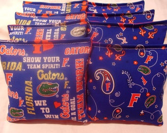 8 ACA Regulation Cornhole Bags - NCAA Florida Gators on 2 Different Prints
