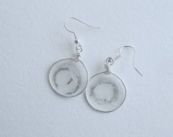 Paper earrings/Paper jewerlry/Enso earrings/Enso jewelry/Wire wrapped earrings/Wire wrapped jewelry/Wire wrapped stone