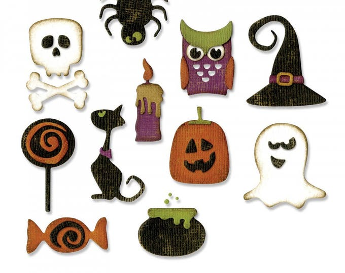 New! Sizzix Tim Holtz Halloween Thinlits Die Set 11PK - Mini Halloween Things - 662379