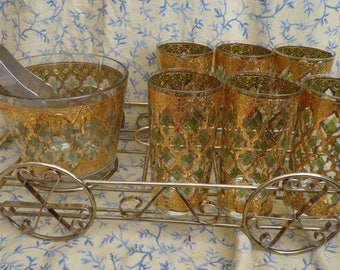 Culver Highball Glasses Set with Ice Bucket, Tongs, and Wire Rack Holder 9 pieces VALENCIA Pattern