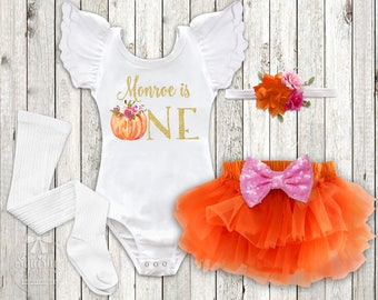 Girl's Pumpkin First Birthday Outfit Pumpkin 1st Birthday Party Pumpkin Patch Outfit Fall Birthday Outfit Boho Pumpkin Patch Outfit