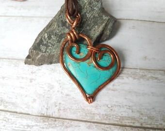 Wire Wrap Heart Pendant - Turquoise Pendant Necklace - Heart Pendant - Wire Wrap Pendant - Rustic Pendant - Tribal Pendant PE0009