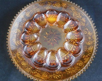 Beautiful Vintage Amber Glass Deviled Egg Dish. Amazing Condition.