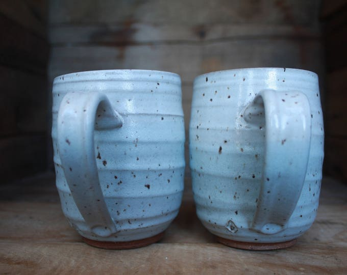Coffee Mugs - Pottery Mugs - Mugs set of 2 - Wheel Thrown Pottery - Ceramics & Pottery - KJ Pottery