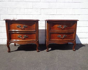 2 Nightstands French Provincial Pair of Tables Bedside Vintage Thomasville Shabby Chic Bedroom Storage Hollywood Regency CUSTOM PAINT AVAIL