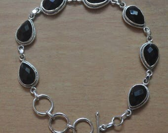 Black Onyx Bracelet,Sterling Silver Handmade Braceletst,Boho Bracelet,Gift Bracelet Jewelry,Silver Bracelet,Adjustable BraceletFaceted Stone