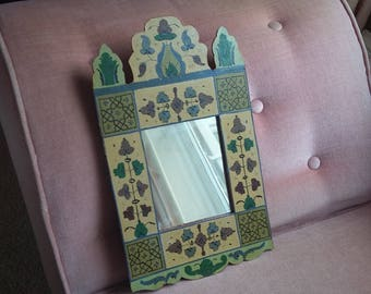 Vintage Painted Shaped Mirror Hand Painted