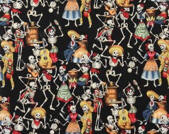 Dancing Skeletons Fiesta Black Cotton Alexander Henry #6928 By the Yard
