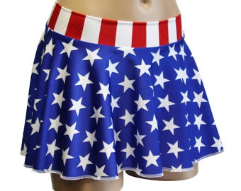"USA Stars and Stripes Flag 12"" Hipster Circle Skater Skirt.  Great for Festivals, Memorial Day Events, and July 4th Parties!  Made in USA."