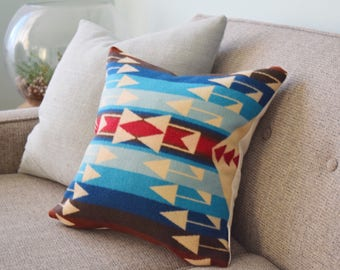 Western Wool Pillow Cover Native Inspired Pillow Turquoise Boho Pillow