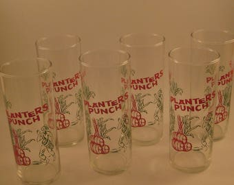 Vintage Planters Punch Glasses (6), Federal Glass Co, Tom Collins or Zombie style, Mid Century Barware