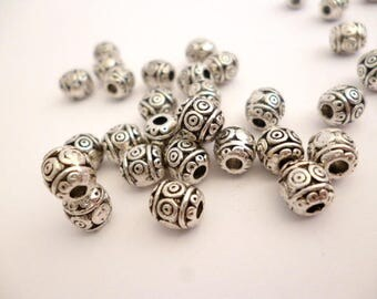 Solid Silver Tone Metal Beads_ NAC542110995_ Metal spacer_ Silver of 7x6 mm_ hole 2 mm _ pack 30 pcs