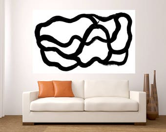 Fine Art Abstract black white huge painting large acrylic pop art painting modern decor office living room dinning room handmade minimalist
