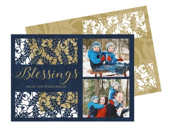 Photo Holiday Cards Laser Cut Holly Design Christmas Photo Cards