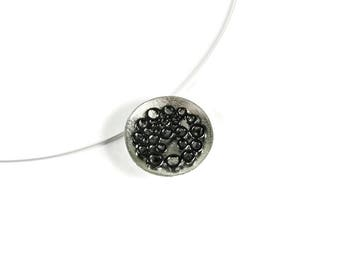 Bubbles Statement Pendant Necklace Sterling Silver Oxidized Black Patina Modern Black White Contrast Round Geometric Chic Jewelry For Her